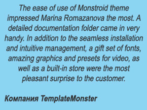 Отзыв TemplateMonster - The ease of use of Monstroid theme impressed Marina Romazanova the most. A detailed documentation folder came in very handy.